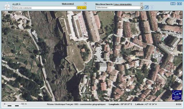 Géoportail.fr - full-screen mode with an aerial map of Corte